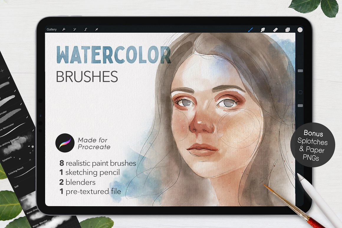 Watercolor Brushes - [Procreate]