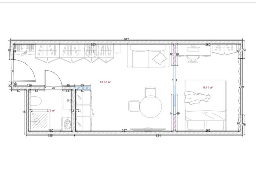 Дизайн квартиры-студии 31 кв.