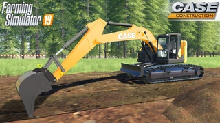 Farming Simulator 19 - CASE CX245D Crawler Excavator Digs A Trench For The Sewer
