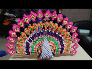 Origami 3d Big Peacock tutorial / How to make 3d origami peacock