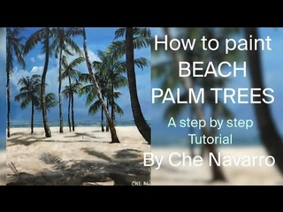 How to paint palm trees | Beach | Seascape | Step by Step Tutorial | Acrylic Painting | Art