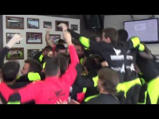 Huesca players celebrating after knowing they will play vs barcelona in copa delray