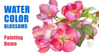 WATERCOLOR PINK APPLE BLOSSOMS  🌸  Spring Flower Painting Tutorial Step-by-Step