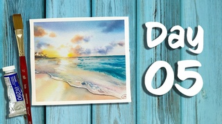 Day 5 of 21 days of Summer | How to paint a Beach