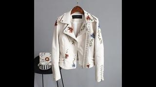 Женская куртка из мягкой искусственной кожи ailegogo, мотоциклетная куртка из искусственной кожи с цветочной вышивкой, верхняя